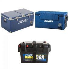 Kings 90L Camping Fridge Freezer + 90L Fridge Cover + Battery Box