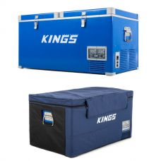 Adventure Kings 90L Camping Dual Zone Fridge/ Freezer + Insulating Cover | 12v/24v/240v | -18c to +10c | SECOP Compressor