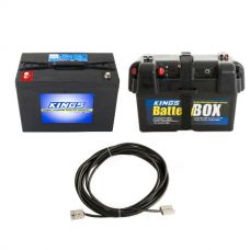Adventure Kings AGM Deep Cycle Battery 98AH + Battery Box + 10m Lead For Solar Panel Extension
