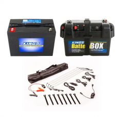 Adventure Kings AGM Deep Cycle Battery 98AH + Battery Box + Illuminator 4 Bar Camp Light Kit