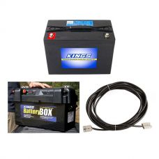 Adventure Kings AGM Deep Cycle Battery 98AH + Maxi Battery Box + 10m Lead For Solar Panel Extension
