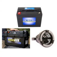 Adventure Kings AGM Deep Cycle Battery 98AH + Maxi Battery Box + 2in1 LED Light & Fan