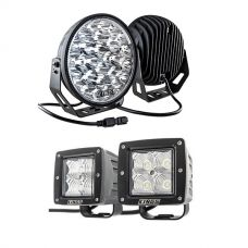 "Kings 9"" LED Driving Lights (Pair) + 3"" LED Work Light - Pair"