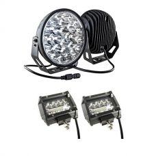 """Kings 9"""" LED Driving Lights (Pair) + 4"""" LED Light Bar"""