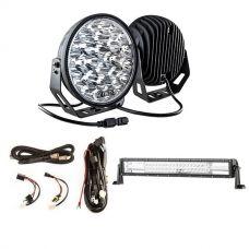 "Kings 9"" LED Driving Lights (Pair) + Domin8r 22"" LED Light Bar + Smart Harness"