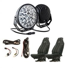 "Kings 9"" LED Driving Lights (Pair) + Smart Harness + Heavy Duty Seat Covers"