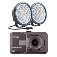 """Kings Domin8r X 9"""" Driving Lights fitted with OSRAM LEDs (Pair) + Adventure Kings Dash Camera"""