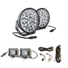 "Adventure Kings Domin8r Xtreme 9"" LED Driving Lights (Pair) + Plug N Play Smart Wiring Harness Kit + 4"" LED Light Bar"