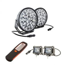 "Adventure Kings Domin8r Xtreme 9"" LED Driving Lights (Pair) + Adventure Kings 4"" LED Light Bar + Illuminator 24 LED Work Light"