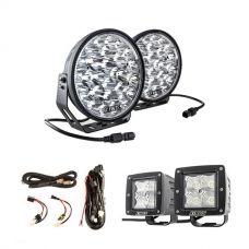 "Adventure Kings Domin8r Xtreme 9"" LED Driving Lights (Pair) + Plug N Play Smart Wiring Harness Kit + 3"" Work Lights (Pair)"