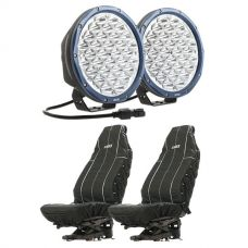 "Kings Domin8r X 9"" Driving Lights fitted with OSRAM LEDs (Pair) + Adventure Kings Heavy Duty Seat Covers (Pair)"