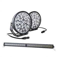 "Kings Domin8r Xtreme 9"" LED Driving Lights (Pair) + 30"" Laser Light Bar"