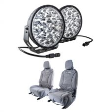 """Adventure Kings Domin8r Xtreme 9"""" LED Driving Lights (Pair) + Kings Universal Premium Canvas Seat Covers (Pair)"""