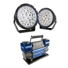 "Kings Lethal 9"" Premium LED Driving Lights (Pair) + Thumper Max Dual Air Compressor MkII"