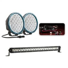 """Essential 9"""" Domin8rX Driving Light Pack fitted with OSRAM LEDs + 20"""" Slim Line LED Light Bar"""