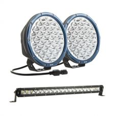 "Kings Domin8r X 9"" Driving Lights fitted with OSRAM LEDs (Pair) + 20"" Slim Line LED Light Bar"