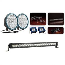 """Ultimate 9"""" Domin8rX Driving Light Pack fitted with OSRAM LEDs + Kings 20"""" Slim Line LED Light Bar"""