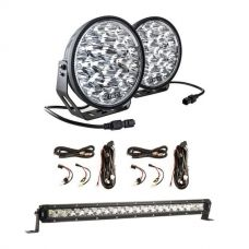 "Adventure Kings Domin8r Xtreme 9"" LED Driving Lights (Pair) + 2x Plug N Play Smart Wiring Harness Kit + 20"" LETHAL MKIII Slim Line LED Light Bar"