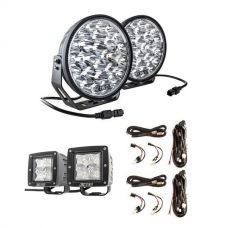 "Adventure Kings Domin8r Xtreme 9"" LED Driving Lights (Pair) + 2x Plug N Play Smart Wiring Harness Kit + 3"" Work Lights (Pair)"