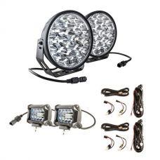 "Adventure Kings Domin8r Xtreme 9"" LED Driving Lights (Pair) + 2x Plug N Play Smart Wiring Harness Kit + 4"" LED Light Bar"