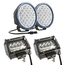 "Kings Domin8r X 9"" Driving Lights fitted with OSRAM LEDs (Pair) + Adventure Kings 4"" LED Light Bar"