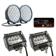 """Essential 9"""" Domin8rX Driving Light Pack fitted with OSRAM LEDs + Adventure Kings 4"""" LED Light Bar"""