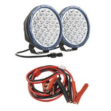 "Kings Domin8r X 9"" Driving Lights fitted with OSRAM LEDs (Pair) + Adventure Kings Heavy-Duty Jumper Leads"