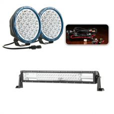 "Essential 9"" Domin8rX Driving Light Pack fitted with OSRAM LEDs + Domin8r 22"" LED Light Bar"