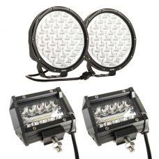 "Kings 9"" LED Driving Lights (pair) + Adventure Kings 4"" LED Light Bar"