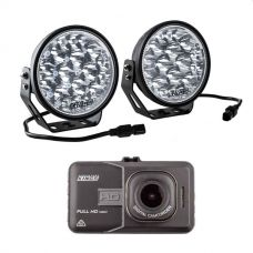 "Adventure Kings Domin8r Xtreme 7"" LED Driving Lights (Pair) + Adventure Kings Dash Camera"