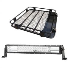 "Steel Roof Rack 1/2 Length + Domin8r 22"" LED Light Bar"