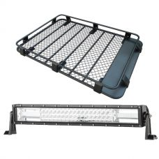 "Steel Roof Rack 3/4 Length + Domin8r 22"" LED Light Bar"