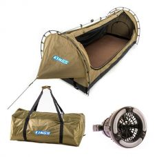 Kings Deluxe Escape Single Swag + Deluxe Single Swag Polyester Bag + 2in1 LED Light & Fan