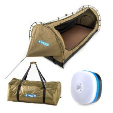 Kings Deluxe Escape Single Swag + Deluxe Single Swag Polyester Bag + Mini Lantern