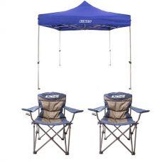 Adventure Kings - Gazebo 3m x 3m + 2x Throne Camping Chair