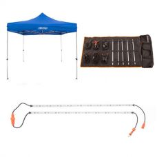 Adventure Kings - Gazebo 3m x 3m + Complete 5 Bar Camp Light Kit + Orange LED Camp Light Extension Kit