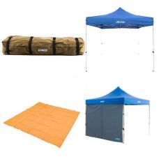 Adventure Kings - Gazebo 3m x 3m + Gazebo Side Wall + Mesh Flooring 3m x 3m + Roof Top Canvas Bag