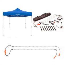 Adventure Kings - Gazebo 3m x 3m + Illuminator 4 Bar Camp Light Kit + Orange LED Camp Light Extension Kit