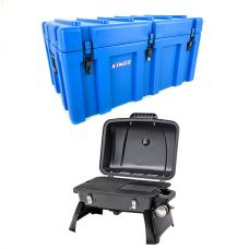 Adventure Kings 156L Storage Box + Gasmate Voyager Portable BBQ
