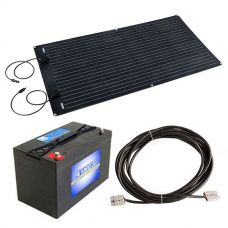 Adventure Kings 160W Semi-Flexible Solar Panel + 10m Lead For Solar Panel Extension + AGM Deep Cycle Battery 115AH