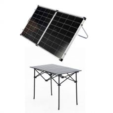 Kings Premium 160w Solar Panel with MPPT Regulator + Kings Portable Alloy Camping Table