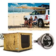 Adventure Kings 2 x 2.5m Awning Tent + Adventure Kings Awning 2x2.5m + Adventure Kings 2in1 LED Light & Fan