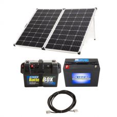 Adventure Kings 250w Solar Panel + AGM Deep Cycle Battery 98AH + Battery Box + 10m Lead For Solar Panel Extension