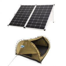 Adventure Kings 250w Solar Panel + Deluxe Double Swag Big Daddy Canvas 70mm Mattress