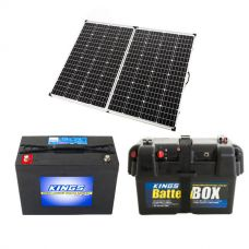 Adventure Kings 250w Solar Panel + AGM Deep Cycle Battery 98AH + Battery Box