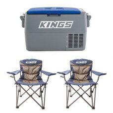 Adventure Kings 45L Camping Fridge + 2x Adventure Kings Throne Camping Chair