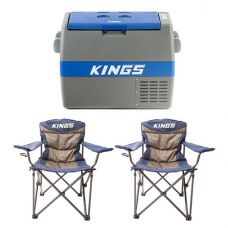 Adventure Kings 60L Camping Fridge/Freezer + 2x Adventure Kings Throne Camping Chair