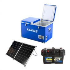 Adventure Kings 70L Camping Fridge/Freezer + Kings Premium 160w Solar Panel with MPPT Regulator + Battery Box