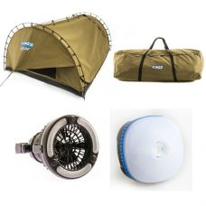 Adventure Kings 'Big Daddy' Deluxe Double Swag + Swag Canvas Bag + 2in1 LED Light & Fan + Mini Lantern