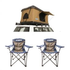Adventure Kings 'Kwiky' Pop Up Roof Top Tent + 2x Throne Camping Chair